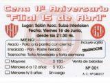 Cena Aniversario Filial 15 de Abril