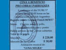 Cena ProObras en Parroquia - Tarjeta