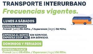 Transporte Interurbano - Frecuencias vigentes