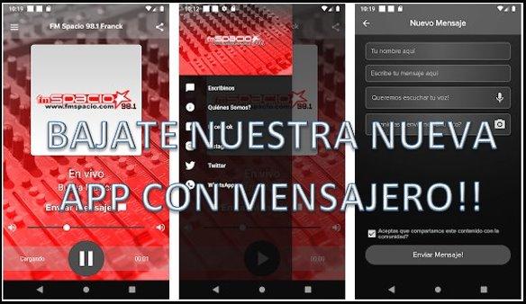 Nueva App FM Spacio con mensajero